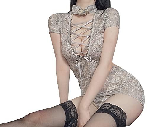 XWHSCXYBZ Ropa Interior traviesa Qing Yun Clásico Apretado Traje de Encaje Femenino