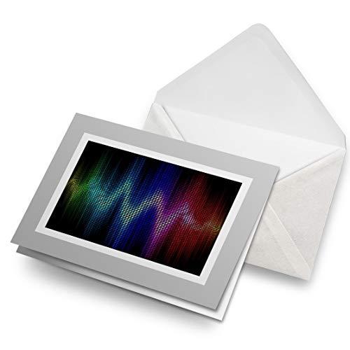 Awesome tarjetas de felicitación gris (inserto) – Ecualizador audio música sonido ondas en blanco tarjeta de felicitación de cumpleaños para niños y niñas #16006