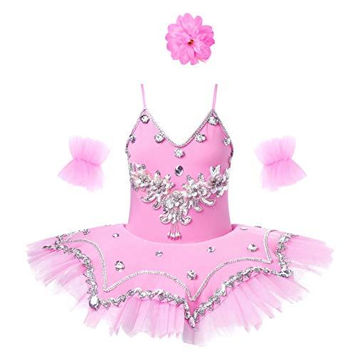 iixpin 3Pcs Vestito da Danza Lago dei Cigni Balletto Bambina Paillettes Ballerina tutù Abito da Danza Classica Body Ginnastica Leotards Costume Carnevale Dancewear Pink B 4-5 Anni