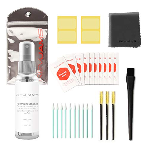 RevJams 31pc Cleaning Kit for Apple AirPods, Pro, & AirPods 2 - Includes Exclusive, Safe Cleaning Solution, Microfiber Cloth, Safe Brushes, Dust Stickers, Swabs, and More, Improved!