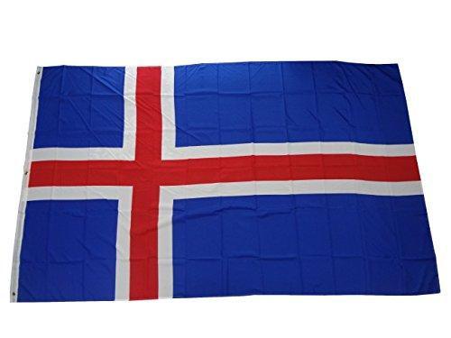 Top qualité – Drapeau de l'Islande drapeau marchandises, indéchirable, pas bon marché de la Chine, plastique, 250 x 150 cm Poids env. 100 g/m², Très résistant, extra forte œillets en laiton