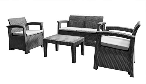 AIRWAVE 4pc Rattan Garden Furniture Set Outdoor Table and Chairs for Patio/Conservatory
