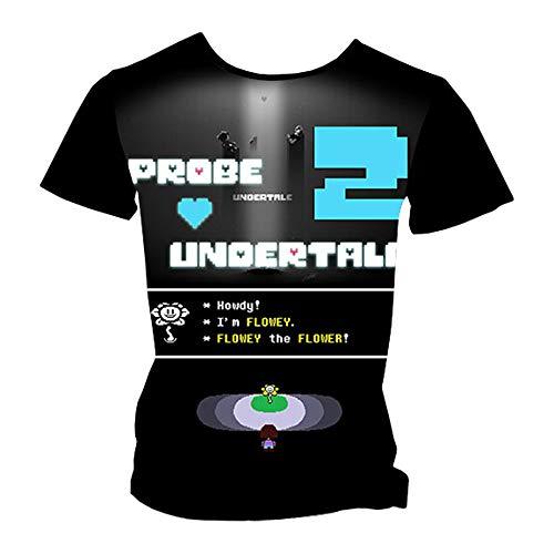 Undertale Camiseta La Camiseta Summer Leisure, Manga Corta, Cuello Redondo, Blusas, Personalizar Top Estampado Unisex (Color : A02, Size : L)
