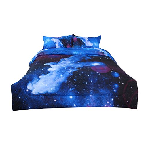 uxcell Full/Queen Size Galaxy Dark Blue Comforter Set -3D Outer Space Themed Bedding- All-Season Down Alternative Quilted Duvet - Reversible Design- Includes 1 Comforter & 2 Pillowcases