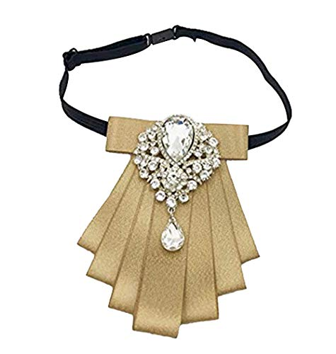 Womens Bow tie brooch Ribbon Adjustable Pre-tied Necktie for Party Accessories Gifts (Gold)