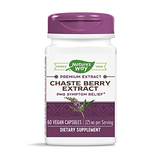 Nature's Way Chaste Berry Extract, 225 mg per serving, PMS Symptom Relief, 60 Vegan Capsules