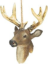 Christmas Ornament 8 Point Buck Resin Deer Head, 5 Inches