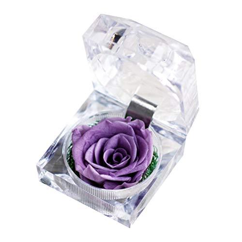 VOSAREA 1 Satz Konserviert Frische Blume Ewige Rose Acryl Kristall Ring Box Geschenke für Frauen Geburtstag Jubiläum Valentinstag Hochzeitsgeschenk