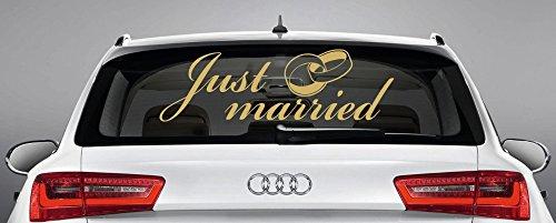 Finest-Folia UG Just Married -Gold- Auto Aufkleber Hochzeit Hochzeitsauto Wedding Brautkleid KX044