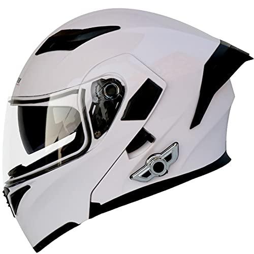 Casco Moto Modular Hombre Con Bluetooth Integrado, Casco De Moto Modular Bluetooth De Mujer, Casco Doble Visera ECE/DOT Homologado Cascos Integrales Moto Con Micrófono Oculto White,XXL