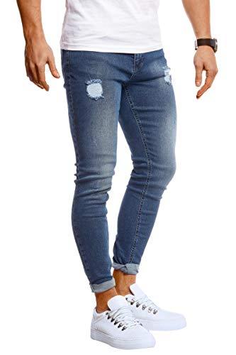Leif Nelson Herren Jeans Hose Slim Fit Stretch Jeanshose für Männer LN1006 Dunkel Blau W29/L30