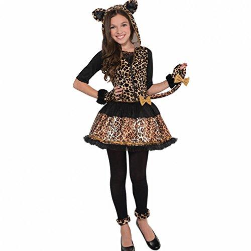 Amscan International - Costume da carnevale Sassy con inserti in stampa leopardata, per bambina, taglia 8-10 anni