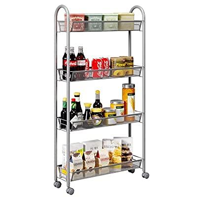 HOMFALIFE 4-Tier Gap Kitchen Slim Slide Out Storage Tower Rack with Wheels  Multifunction Utility Cart Kitchen Storage Cart  Cupboard with Casters  Silver