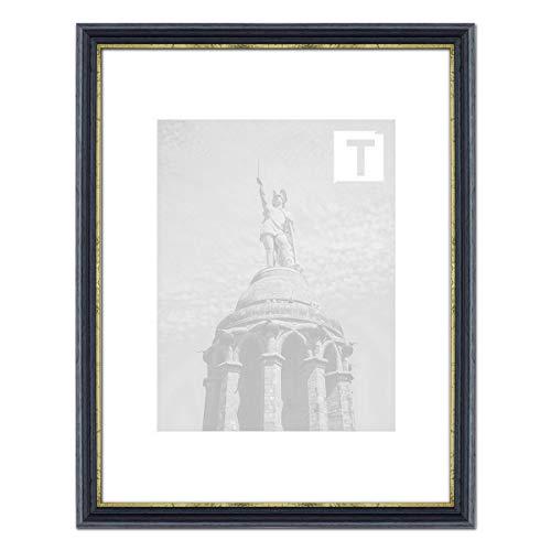 Barock-Bilderrahmen Julianne Blau 18 x 24 cm Museumsglas 2mm filigran goldene Leiste