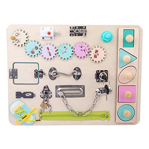 Busy Boards Juguete Sensorial Montessori de Madera Cerradura de Juguete Tablero de Pestillos Educativo Temprano para Niños