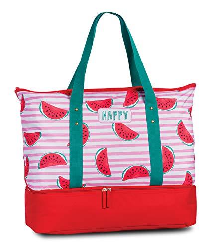Strandtasche und Kühltasche 2in1 Badetasche Umhängetasche Extrafach mit Kühlfunktion Happy Melonen Design in Pink Rot