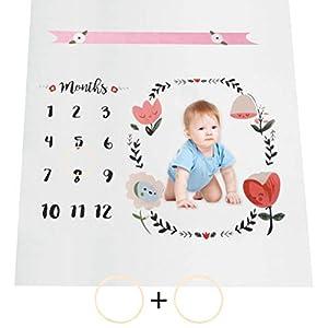 QLOUNI Manta Bebé de Hitos Mensuales – Bebé Manta Mensual Hito Franela de Fondo de Foto Registra Edad Y Crecimiento (100…