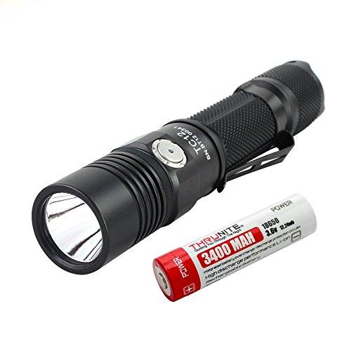 ThruNite Rechargeable TC12 V2 Flashlight - Max 1100 Lumens CREE XP-L LED Flashlight with Micro-USB & 18650 Battery - NW