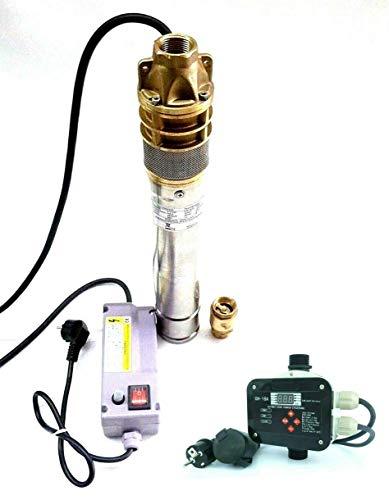 Diepbronpomp fonteinpomp SKM100 INOX + digitale besturing CH18A + terugslagklep roestvrij staal 3