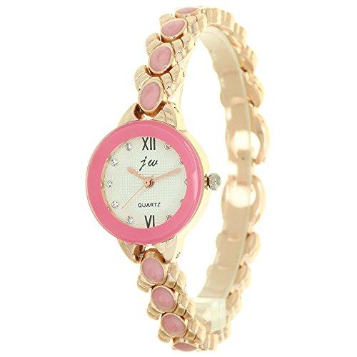 ファッションジュエリー 腕時計 レディース ゴールド ラインストーン マウントハートチェーン ブレスレット レディース 腕時計 ダイヤモンド 女性 高級ブランド ガールズ 時計 S 8206A7 ビーズ V チェーン ゴールド ピンク