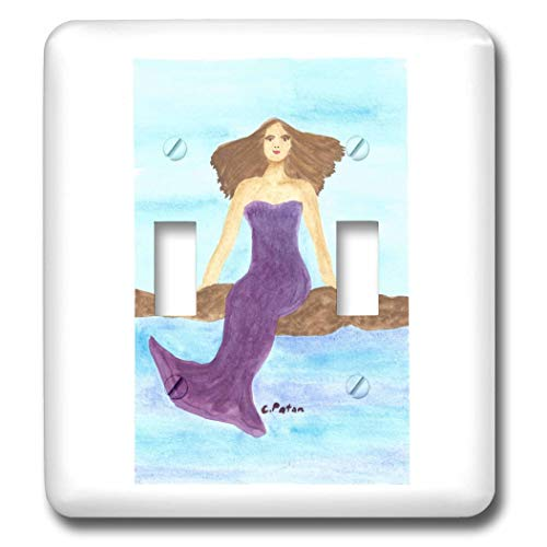 3dRose CherylsArt Mermaid - Watercolor Painting of a Mermaid Sitting on Rocks in the Ocean - double toggle switch (lsp_315613_2)