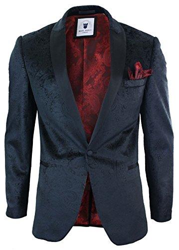 Marc Darcy Herrensakko Tuxedo Dinner Schwarz Samt Optik Paisley Design