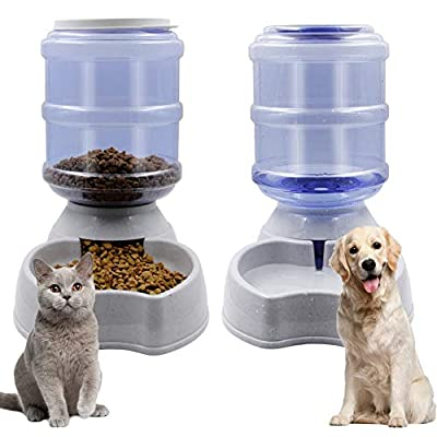 Zcaukya Automatic Cat Feeder and Water Dispenser Set, 1 Gal x 2 Gravity Dog Water Fountain Pet Food Feeder (Grey)