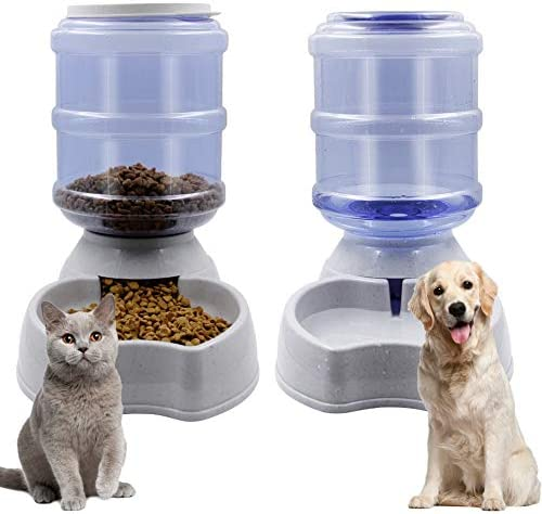 Zcaukya Automatic Cat Feeder and Water Dispenser Set, 1 Gal x 2 Gravity Dog Water Fountain Pet Food Feeder