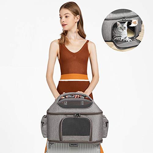 Drager van het Huisdier, Portable Cat Carrier Bag Top Opening, Reizende Kat En Hond Opvouwbare Pet schoudertas met afneembare Mat en ademend Mesh,Gray