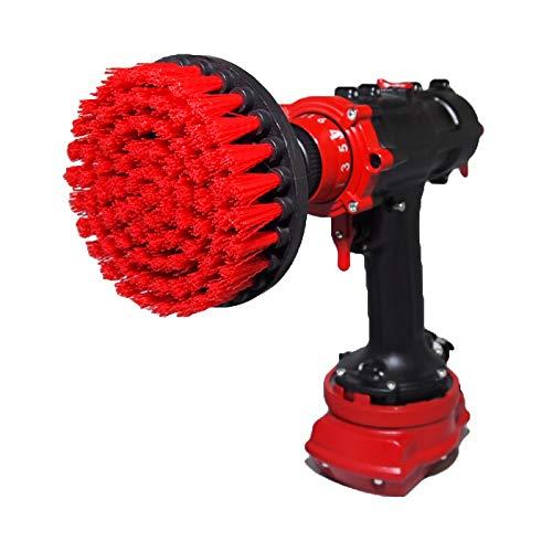 Premium Bohrbürste - Steif, Rot, 13 cm. Professioneller Power Scrubber. Verkratzt keine Oberflächen. Geeignet für Garage, Backstein, Außenfliesen, Stein, Kamin, Entrostung, Felgenreinigung