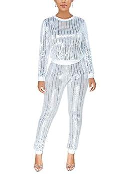 WOKANSE Women s Sequin Glitter Long Sleeve Sweatshirts and Skinny Long Pants Two Piece Outfits White