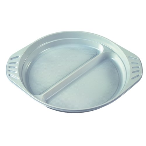 Papstar Plastikteller / Menü-Teller weiß (100 Stück), aus Polypropylen, 2-geteilte Fläche, Ø 21.9 cm, Höhe 2.6 cm, für Feste/Geburtstage/Ausflüge, mit Anfasser, #14251