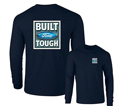 Built Ford Tough Logo Classic Emblem Long Sleeve T-Shirt F & B, Navy, XL