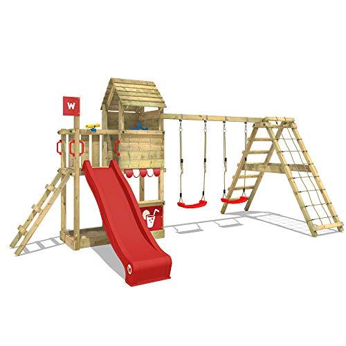 WICKEY Parque infantil de madera Smart Port con columpio y tobogán rojo Área de juegos da exterior, Escalera Sueco con arenero y pared de escalada para niños