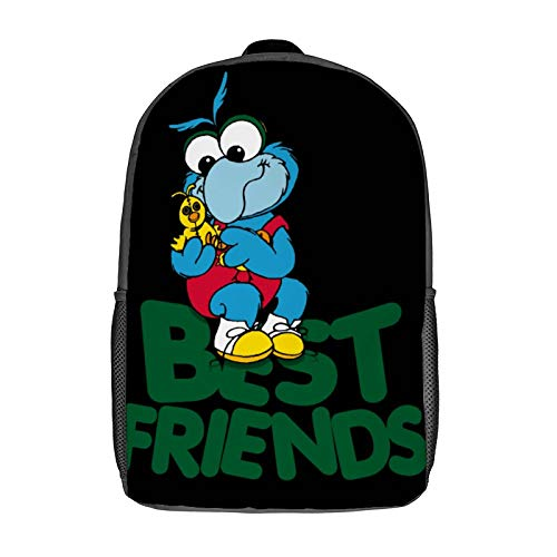 Muppet Babies - Gonzo & Camilla 01 - Best Friend 3D Anime School Bag with mesh pocket Unisex Fashion Black bookbag Travel Laptop Backpack 17 inch