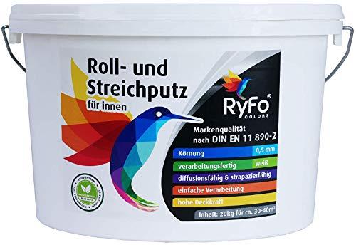 RyFo Colors Roll- und Streichputz für innen 20kg (Größe wählbar) - Rollputz für den Innen-Bereich, strahlend weiß mit edler feinkörniger Struktur, einfachste Verarbeitung