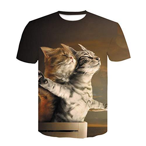 Animal Cat Pattern Camiseta para Hombre con Estampado en 3D, Camisetas Informales de Verano de Secado rápido, Novedad, Camiseta de Manga Corta-XL