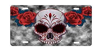 Custom Aluminum License Plate Frames Cover for Car License Plate Cover with 4 Holes Car Tag  Sea Turtle  Sugar Skull Red Owl and Rose Tattoo