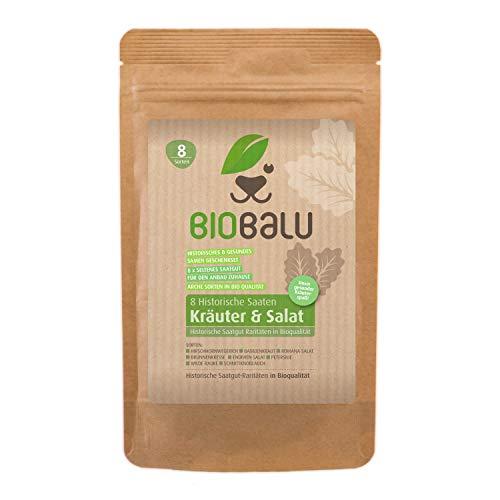 Biobalu Kräuter & Salat Samen Bio | 8 Alte Sorten | Historisches Saatgut Set | Saatgut Raritäten in Bioqualität | Seltene Sorten für Freiland, Gewächshaus & Balkon | Geschenkset