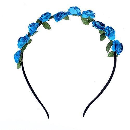 Q_TS Haarspange Stirnbänder Strand Rose Blume Ring Papierblume Stirnband Urlaub am Meer Haarschmuck blau