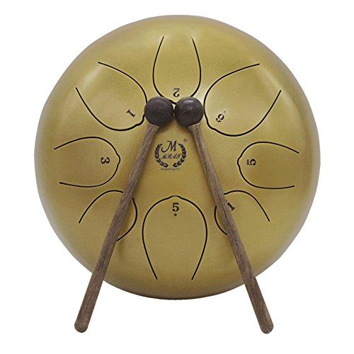 Muslady Stahl Tongue Drum 10 Zoll Stahlzungentrommel Handtrommel mit Schlagzeug Schlägel Taschen Tragen Hinweis Sticks