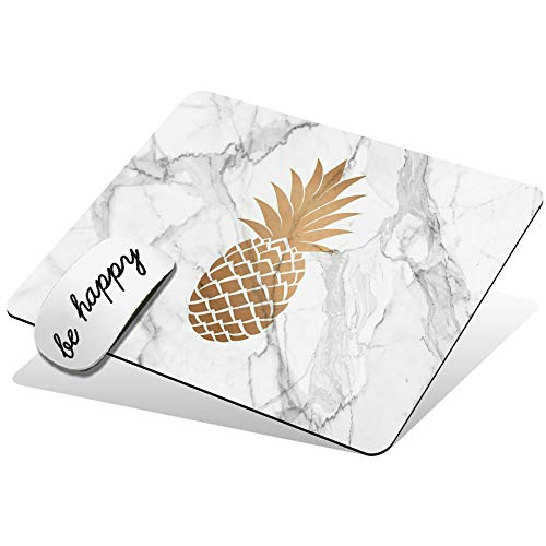 Mouse Pad Cute Custom Pattern Design Mouse Mat Non-Slip Rubber Base Gaming Mousepad for Wireless Mouse Laptop Computer Office Home, with Be Happy Stickers, Pineapple Marble