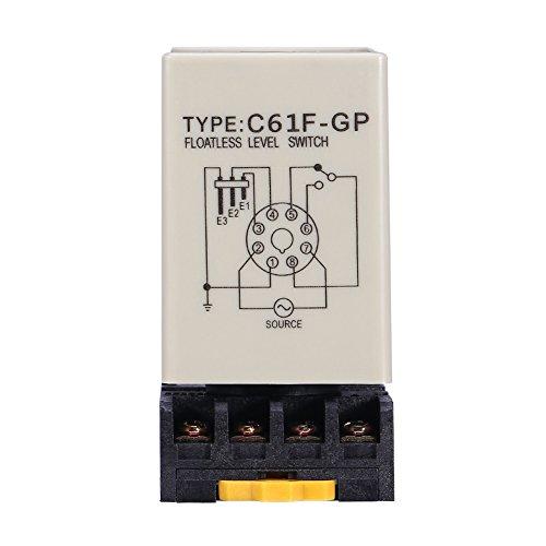 C61F-GP Interruptor de Nivel de Líquido, Interruptor de Nivel de Líquido Sin Flotador Controlador de Nivel de Líquido con Base AC220V