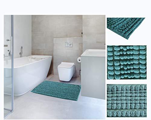 Comercial Candela Alfombra de Baño Antideslizante de Chenilla Alfombrilla Baño Absorbente Microfibra Lavable a Maquina Suave Salida de Baño y Ducha (Turquesa, 40_x_60 CM)