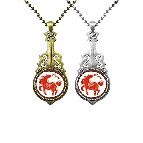 Jahr des Pferdes Tier China Zodiac Red Liebhaber Musik Gitarre Anhänger Schmuck Halskette Anhänger