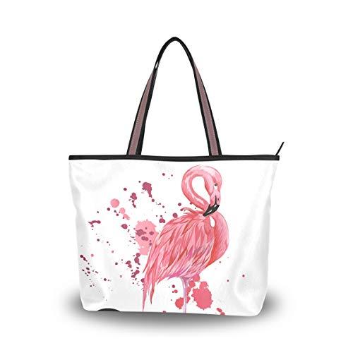 JSTEL Bolso grande de las señoras del bolso de las señoras de la manija superior de las bolsas de hombro del flamenco, multicolor, Large