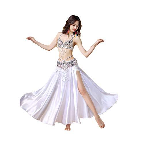ZXSZX Disfraz Danza Vientre Traje Danza Oriental Gama Alta India Vestido Actuación Sexy Sujetador Intermitente Fiesta Superior Conjunto Tres Piezas: Sujetador/Cadena Cintura/Falda