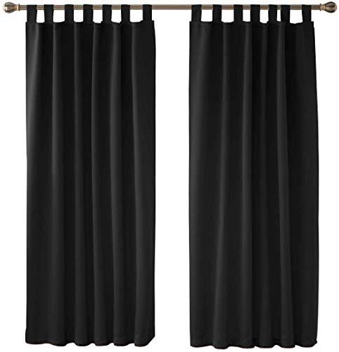 Deconovo Vorhang Verdunkelung Blickdichte Vorhänge Gardinen mit Schlaufen Schlafzimmer 180x140 cm Schwarz 2er Set