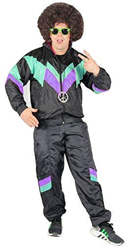 Bad Taste 80er Jahre Kostüm Trainingsanzug für Herren Jogginganzug - schwarz grün lila - Größe S-XXXXL, Größe:XXXXL
