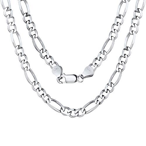 ChainsPro Cadena Ovalada de Hombres y Mujeres Collar Largo Cuello Plata de Ley 925 Platino Plateado 20 Pulgadas Ligero 5mm Enlaces Grandes